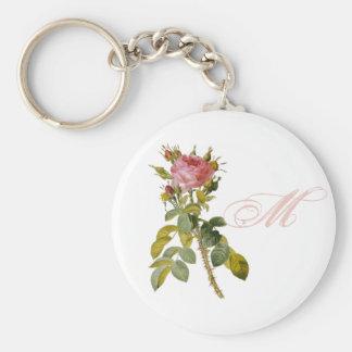 Redoute Rose Custom Monogram Initial Keychain