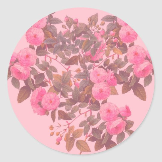 Redoute Roses Classic Round Sticker