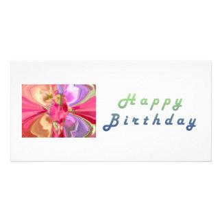 RedRose PinkRose Crystal Butterfly Art Custom Photo Card
