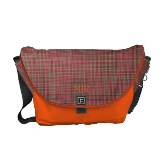 Reds and Yellows Scottish-style Tartan Monogram Courier Bag
