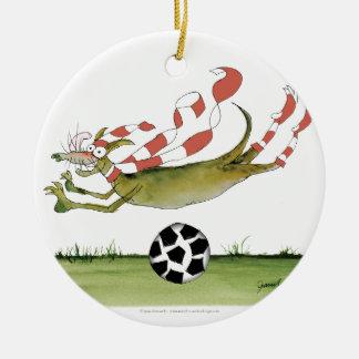 reds soccer dog ceramic ornament