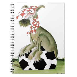 reds soccer dog happy supporter notebooks