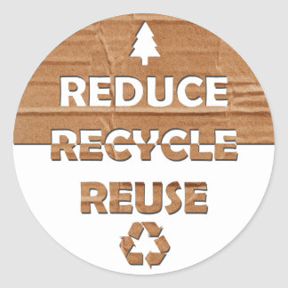 Reduce Recycle Reuse Classic Round Sticker