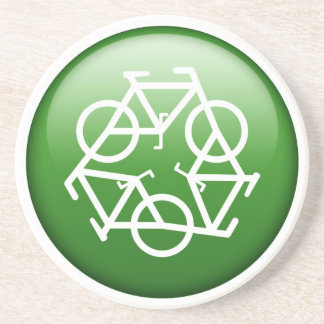 Reduce Reuse Recycle Green Bicycle Coaster