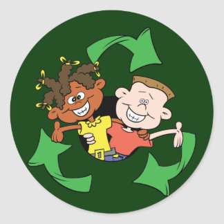 Reduce Reuse Recycle Kids Round Sticker