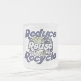 Reduce Reuse Recycle Planet Earth's Resources Frosted Glass Coffee Mug