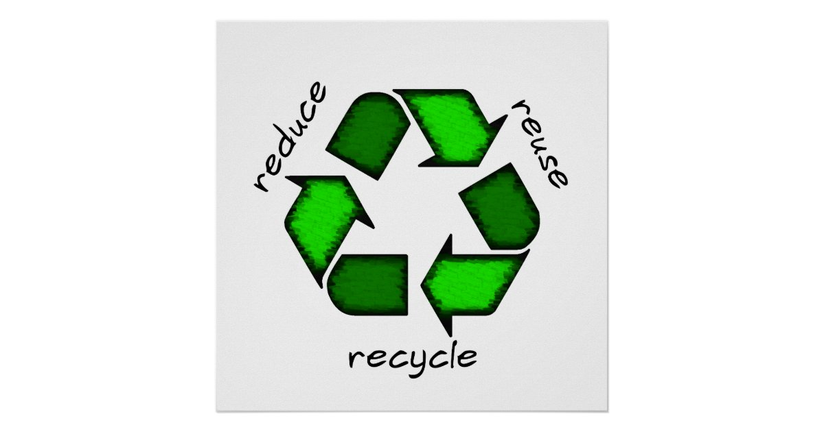 Reduce Reuse Recycle Poster Zazzle