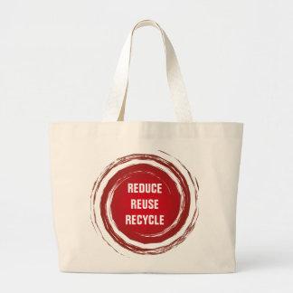 Reduce Reuse Recycle Red Polka Dots Sun Circles Large Tote Bag