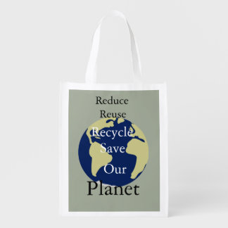 Reduce,  Reuse, Recycle, Save Our Planet Reusable Grocery Bags