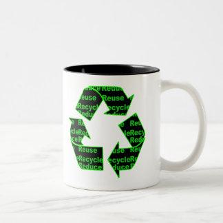 reduce reuse recycle Two-Tone coffee mug