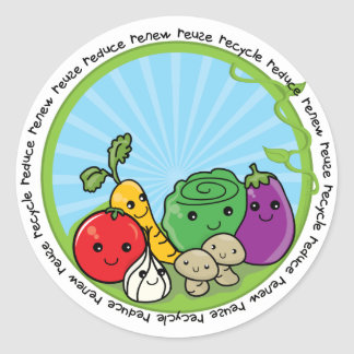 Reduce Reuse Recycle Veggies Classic Round Sticker