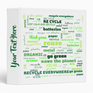 Reduce, Reuse, Recycle Word Cloud Binders