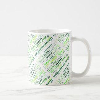 Reduce, Reuse, Recycle Word Cloud Coffee Mug