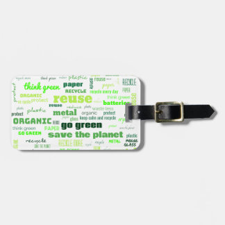 Reduce, Reuse, Recycle Word Cloud Luggage Tag