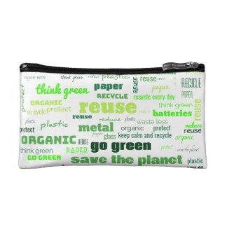 Reduce, Reuse, Recycle Word Cloud Makeup Bag