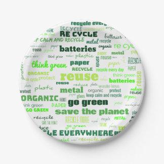 Reduce, Reuse, Recycle Word Cloud Paper Plate