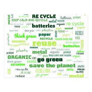Reduce, Reuse, Recycle Word Cloud Postcard