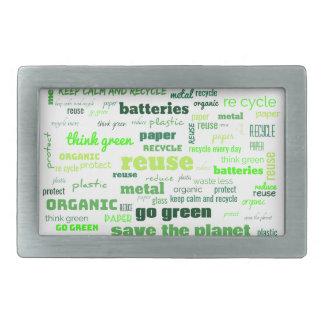 Reduce, Reuse, Recycle Word Cloud Rectangular Belt Buckle