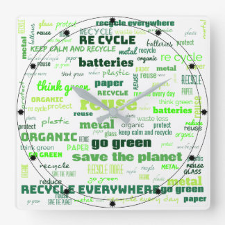 Reduce, Reuse, Recycle Word Cloud Square Wall Clock