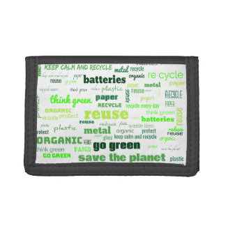 Reduce, Reuse, Recycle Word Cloud Trifold Wallet