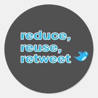 reduce, reuse, retweet classic round sticker