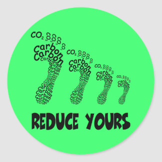 Reduce your carbon footprint classic round sticker