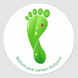 Reduce your carbon footprint green ecological round sticker