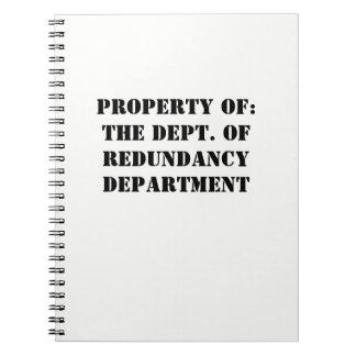 Redundancy Department Property Notebook