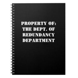 Redundancy Department Property Notebooks