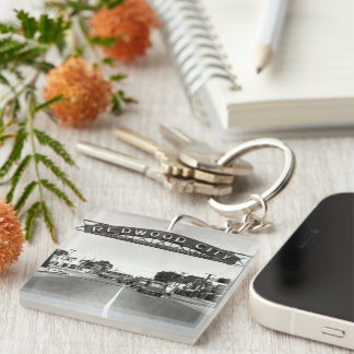 Redwood City 150th Anniversary Double-Sided Square Acrylic Keychain