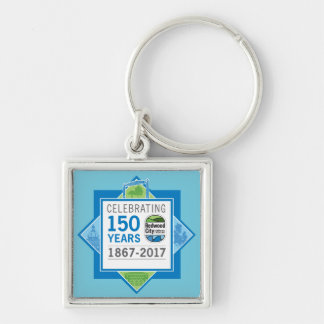 Redwood City 150th Anniversary Silver-Colored Square Keychain