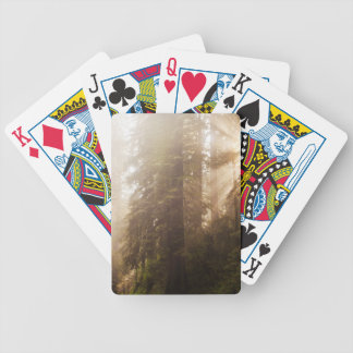 Redwood Trees in Morning Fog with Sunrays Bicycle Playing Cards