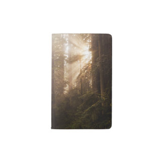 Redwood Trees in Morning Fog with Sunrays Pocket Moleskine Notebook