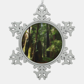 Redwoods and Ferns at Redwood National Park Pewter Snowflake Ornament