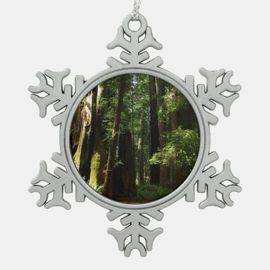Redwoods and Ferns at Redwood National Park Snowflake Pewter Christmas Ornament