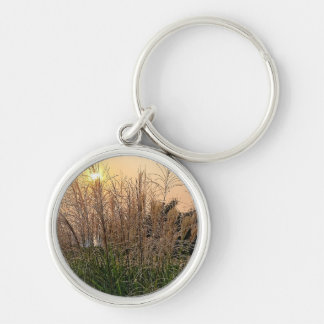 Reed At Sunset Silver-Colored Round Keychain