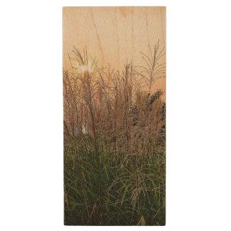Reed At Sunset Wood USB Flash Drive