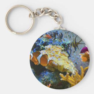 reef fish coral ocean basic round button keychain