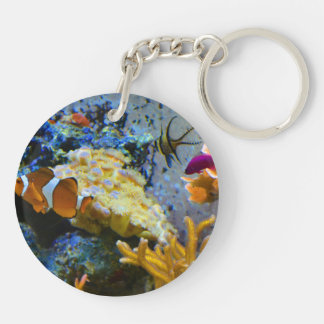 reef fish coral ocean Double-Sided round acrylic keychain