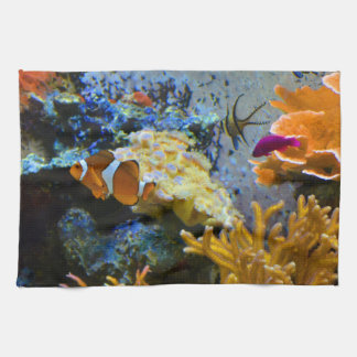 reef fish coral ocean kitchen towel