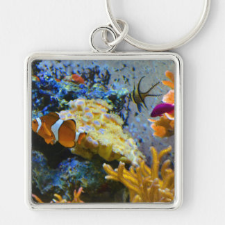reef fish coral ocean Silver-Colored square keychain