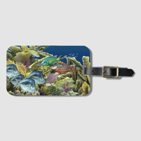 Reef Fish Over Elkhorn Coral T-shirt Luggage Tag