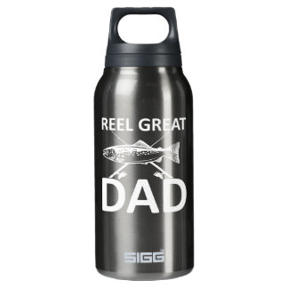 Reel Great Dad Cute Fishing Dad Saying Insulated Water Bottle