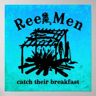 Reel Men Catch Breakfast (BLK) Poster
