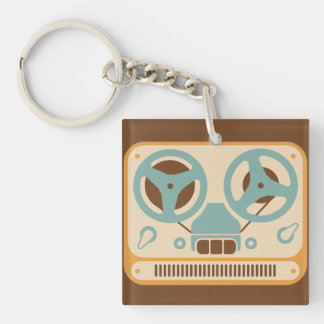 Reel to Reel Analog Tape Recorder Double-Sided Square Acrylic Keychain