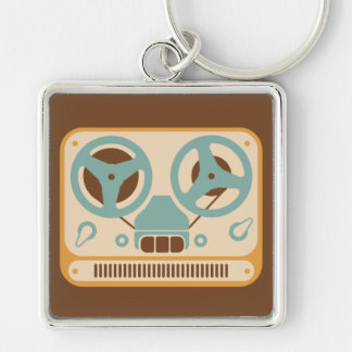 Reel to Reel Analog Tape Recorder Silver-Colored Square Keychain