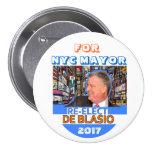 Réélisez Bill de Blasio maire en 2017 Macaron Rond 7,6 Cm