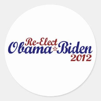Réélisez Obama Biden 2012 Autocollant Rond