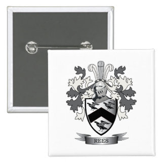 Rees Family Crest Coat of Arms 2 Inch Square Button