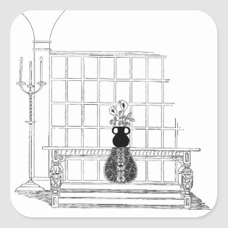 Refectory Table Vintage Decor Square Sticker